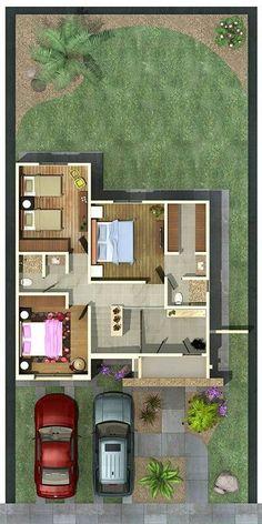 Pinterest: @claudiagabg | Townhouse 2 pisos 3 cuartos 1 estudio / planta 2