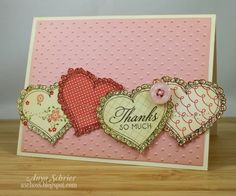 Love the hearts stamped on patterned paper to make a border. Need to find a stamp I can adapt.