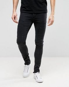 Hoxton Denim Jeans Spray On Patchwork Jean
