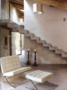Stairs made up wood and aluminum are popular, a concrete staircase is known for durability. Concrete stairs are not only functional but can also add aesthetic valu Interior Architecture, Interior And Exterior, Interior Design, Concrete Stairs, Staircase Remodel, Rustic Interiors, Interior Inspiration, Living Spaces, Living Room