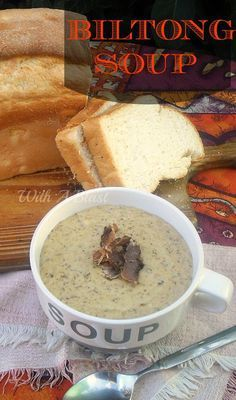 "Biltong Soup ~ Delicious, rich and hearty soup made using traditional South-African Biltong which is similar {but not same} as ""Beef Jerky"" - Chowder Recipes, Soup Recipes, Cooking Recipes, Recipies, Curry Recipes, Oven Recipes, South African Dishes, South African Recipes, Kos"