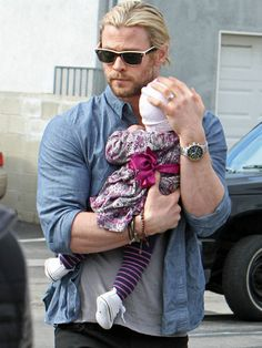 Happy Daddy's Day: The top 10 hottest celebrity dads!!  TOP 2: Chris Hemsworth with baby Sasha