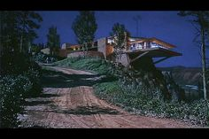 "Vandamm Residence, a legendary non-existent home (created with a movie special effect technique called matte painting) on Mt. Rushmore for the 1959 Hitchcock film ""North By Northwest"". The designers admitted the Frank Lloyd Wright influence in the design."
