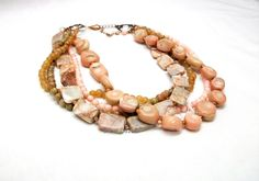 Peach torsade necklace, choker, chunky necklace, multistrand, coral, aventurine, jasper and unakite, copper jewelry by Dixie Dazzle in TN by dixiedazzle, $44.50 USD
