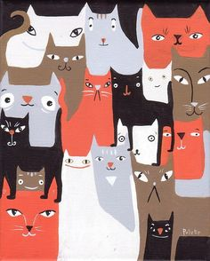 Many Cats Art Print 8x10 Orange, Black, White, Brown and Grey