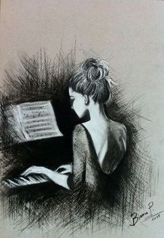 "Bianca Paraschiv Zeichnungen ""Klavier spielen"" Bianca Paraschiv Drawings ""Playing the Piano"" – – Cool Drawings, Drawing Sketches, Music Drawings, Drawing Tips, Pencil Drawings Of Love, Sketching, Stylo Art, Jouer Du Piano, Musik Illustration"