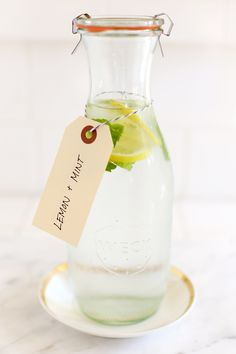 flavored water with lemons and mint.