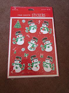 """Vintage 1979 Current Christmas Stickers 4 Sheets per Sealed Package 9/"""" by 6/"""" S"""