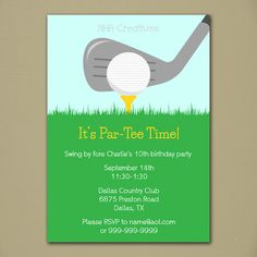 Golf Party Invitation - Personalized DIY Printable Digital File on Etsy, $12.50