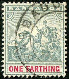 "Barbados  1904 Scott 90 ¼d gray & carmine ""Seal of Colony""; Wmk 3 Badge Type of 1892-1903"