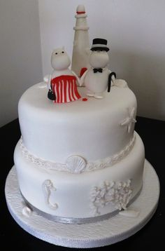 This wedding cake was for a couple with a connection to Finland - the home of the moomins apparently. The wedding was going to be at St Marys Island, and one of the moomins stories has a lighthouse in, so of course it had to have a lighthouse on.   two tier moomins wedding cake with lighthouse