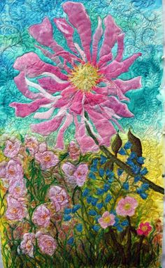 Pink Peony art quilt..