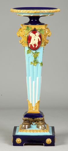 Majolica Pedestal. Cotton Auctions, 'pointers' Pedestal by the English company, Brownfield.