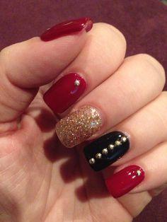 Gel nail designs - red, black, glitter