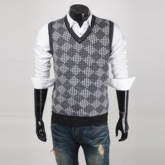 British Style Slimming V-Neck Diamond Checked Sleeveless Cotton Blend Vest For Men (GRAY,M) China Wholesale - Sammydress.com