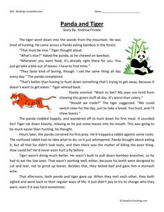 This Reading Comprehension Worksheet - Panda and Tiger is for teaching reading comprehension. Use this reading comprehension story to teach reading comprehension.