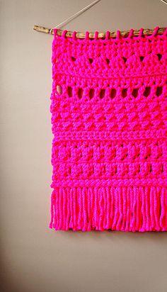 Modern Neon Pink Tapestry / Boho Wall Hanging / by LemonCucullu
