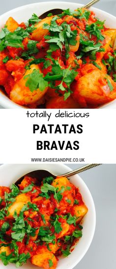 Tasty patatas bravas recipe - authentic Spanish potato recipe that's perfect as part of tapas or alongside meatballs, chicken or fish potato al horno asadas fritas recetas diet diet plan diet recipes recipes Patatas Bravas Recipe Authentic, Healthy Recipes, Mexican Food Recipes, Vegetarian Recipes, Cooking Recipes, Spanish Food Recipes, Authentic Spanish Recipes, Vegetarian Tapas, Gastronomia