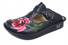 Alegria Clogs, rose embroidery.