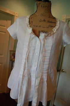 Gorgeous White Linen Peasant Blouse Upcycled NOS Tattered Silk Feminine Shabby Chic Retro Hippie Womens Medium Clothing Farmgirl Urban
