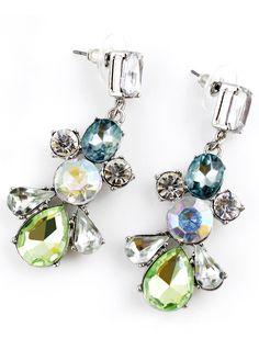 Green Gemstone Silver Crystal Earrings US$7.18