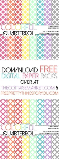 Quarterfoil Colorful Moroccan Digital Paper Pack {A Digital Paper Pack GIFT) - The Cottage Market