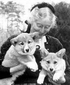 Tasha Tudor with her Corgis
