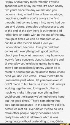 Anniversary Message For Boyfriend, Sweet Messages For Boyfriend, Love Text To Boyfriend, Happy One Year Anniversary, Letters To Boyfriend, 2 Year Anniversary Quotes, Anniversary Letters, Perfect Boyfriend Quotes, Real Relationship Quotes