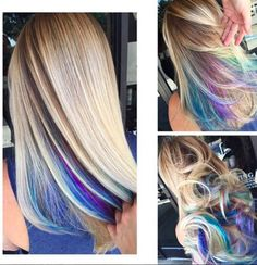 Roots Are the Subtle Hair Trend You Need for Summer Give your hair a pop of color for the summer with the rainbow roots hair trend.Give your hair a pop of color for the summer with the rainbow roots hair trend. Hair Color And Cut, Cool Hair Color, Blonde Hair With Color, Hidden Hair Color, Hair Color For Kids, Hair Color Tips, Hair Colors For Summer, Hair For Work, Joico Hair Color