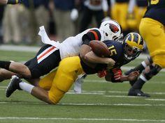 Michigan quarterback Jake Rudock QB fumbles the ball