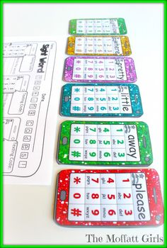 Sight Word Texting Codes!  Kids get to use little cell phones to text the code for their sight word!  How FUN!!