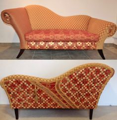 """Hand painted, original burnt Orange/Gold chaise with corset detail. Comes with matching chair and 12 corresponding mixed media paintings. Part of an """"Art-Chair Project"""" at shonnawellsart.com"""