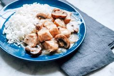 Cream of mushroom soup and Marsala wine combine into a sauce for chicken, mushrooms, and onion in this simple dinner idea. Tahini Chicken, Honey Glazed Chicken, Creamy Chicken, Best Chicken Recipes, Real Food Recipes, Cooking Recipes, Fast Recipes, Soup Recipes