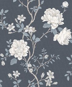 Floral Trail by Galerie - Indigo - Wallpaper : Wallpaper Direct Blue Floral Wallpaper, Charcoal Wallpaper, Accent Wallpaper, Print Wallpaper, New Wallpaper, Black Wallpaper, Flower Wallpaper, Wallpaper Roll, Floral Wallpapers