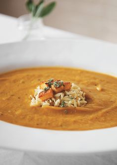 Squash Soup with Sage and Orzo