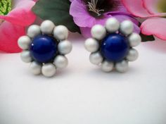 blue and white floral earrings screw back by ALEXLITTLETHINGS, $12.00