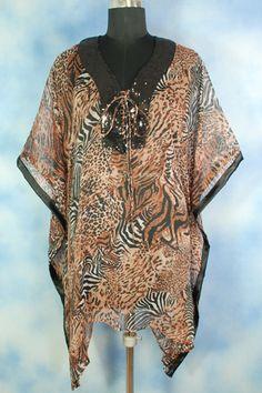 Designer Tiger Print Georgette Kaftan.