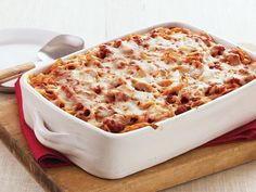 Pizza-Baked Spaghetti - Enjoy the pizza flavor in this cheesy casserole packed with pork sausages, pepperoni and spaghetti – perfect for tasty dinner.