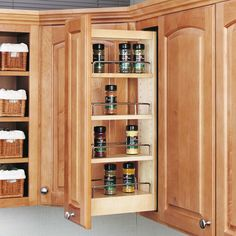 "Rev-A-Shelf 448-WC-5C Natural 448-WC Series 5"" Wall Pull Out Organizer with Adjustable Shelves"