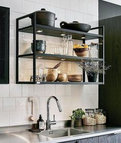 40 Wonderful Industrial Kitchen Shelf Design Ideas To Organize Your Kitchen - Page 33 of 43 - Home Decor Ideas Yellow Kitchen Decor, Home Decor Kitchen, Rustic Kitchen, Kitchen Interior, Home Kitchens, Kitchen Dining, Bistro Kitchen, Kitchen Industrial, Ikea Kitchen Cabinets