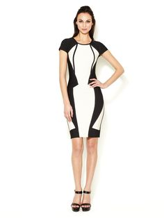 Akia Above Knee Colorblock Cut Out Dress by Herve Leger at Gilt