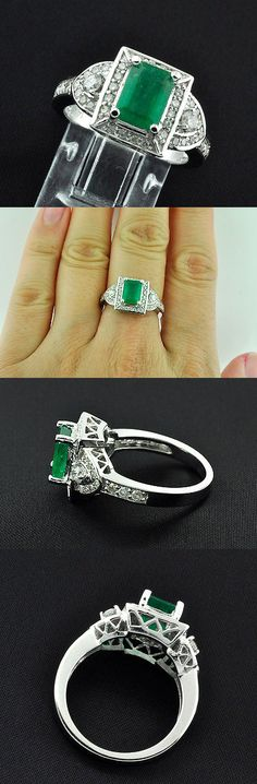 Gemstone 14K White Gold Emerald Cut Sapphire And Diamond