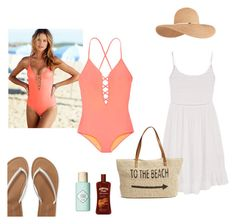 """Beach"" by xiloveyoustyles on Polyvore featuring moda, Victoria's Secret, Aéropostale, maurices, Eugenia Kim, Straw Studios e Benefit"