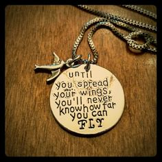 """NEW! Silver stamped pendant necklace bird fly Brand New!! Silver toned necklace. Reads 'Until you spread your wings, you'll never know how far you can fly'. Pendant is 1"""" and hangs on an 18"""" chain. Costume jewelry. Any questions, just ask! Jewelry Necklaces"""