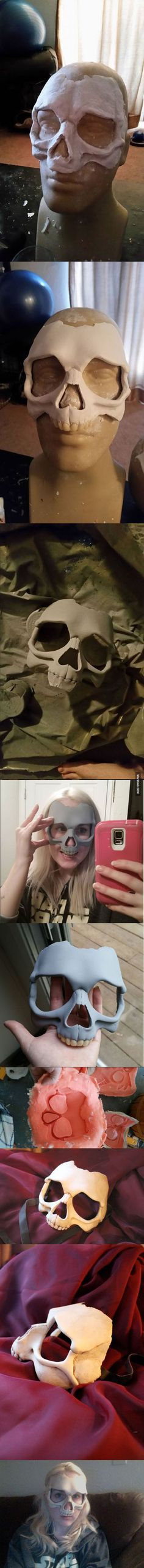 This Girl Made An Awesome Human Skull Mask For Halloween