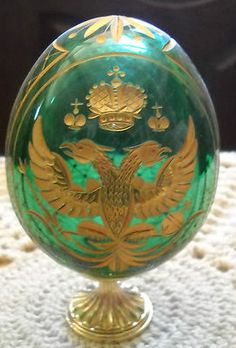 AUTHENTIC FABERGE EGG GREEN CRYSTAL GOLD STAND SIGNED AND NUMBEred (ebay) gorgeous!!