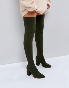 065860a67d7 ASOS KIMANI Knitted Over The Knee Boots - Green High Heel Boots