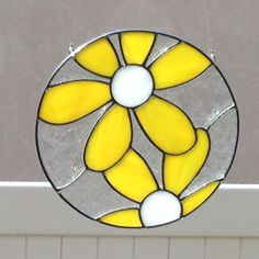 Stained Glass Yellow And White Daisy Suncatcher by FoxStainedGlass