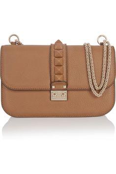 Valentino|Lock medium textured-leather shoulder bag|NET-A-PORTER.COM