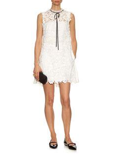 Watteau back guipure-lace mini dress | Self-portrait | MATCHESFASHION.COM
